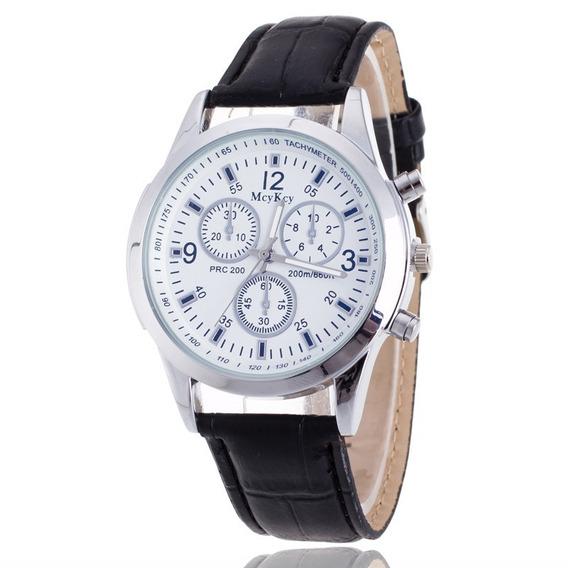 Relógio Masculino Luxo Quartzo Pulseira Couro