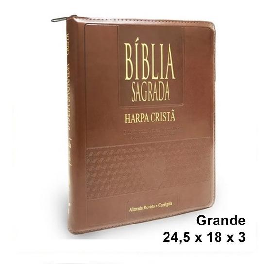 Bíblia Grande Com Harpa Ziper Indice Letra Gigante Cpad
