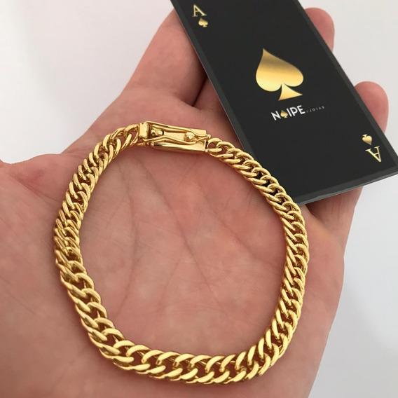 Pulseira 7mm Lacraia Elos Duplos Grumet Banhada A Ouro 18k