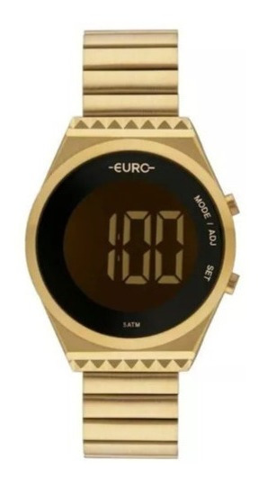 Relógio Euro Digital Feminino Dourado Novo Eubjt016aa/4d