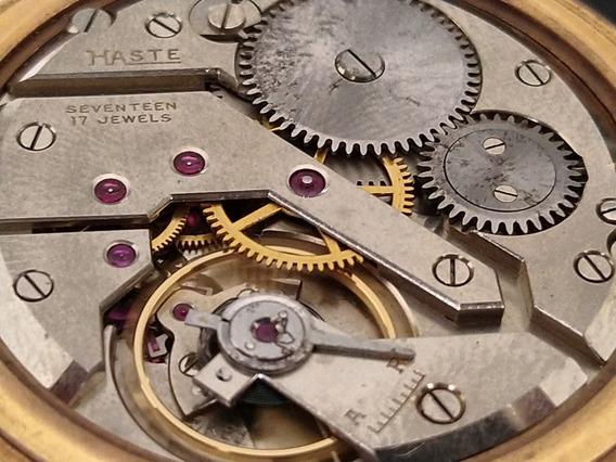 Reloj De Bolsillo Haste Baño De Oro Rosado Ferrocarrilero