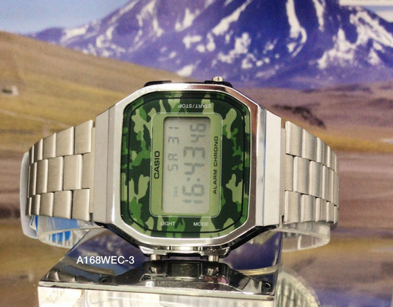 Relógio Casio A168wec-3df Prata A168 Camuflado Vintage Retrô