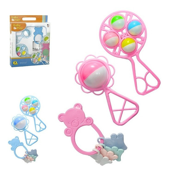 Kit Chocalho Mordedor 3pçs Bebe Brinquedo Infantil Presente