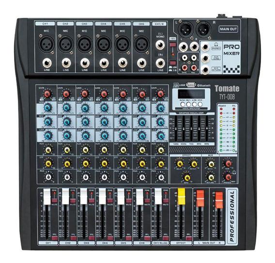 Mesa De Som 8 Canais Bluetooth Usb Mixer Mp3 Player Digital;