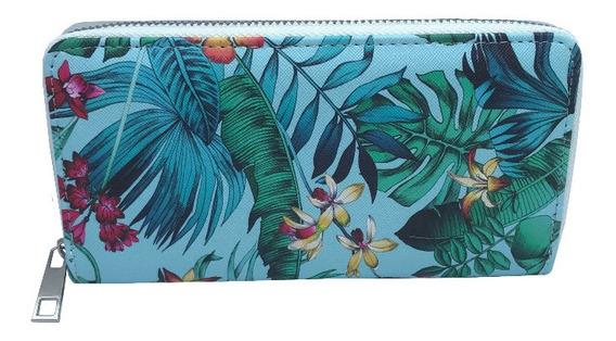 Billetera Con Diseño De Hojas Y Flores Ec 2987