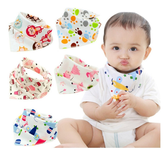 Babadores Bandana Bebe Kit C/5 Un C/ Regulagem Boys E Girls
