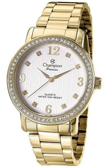 Relógio Feminino Champion Dourado Cn29427h Com Pedrinhas Top
