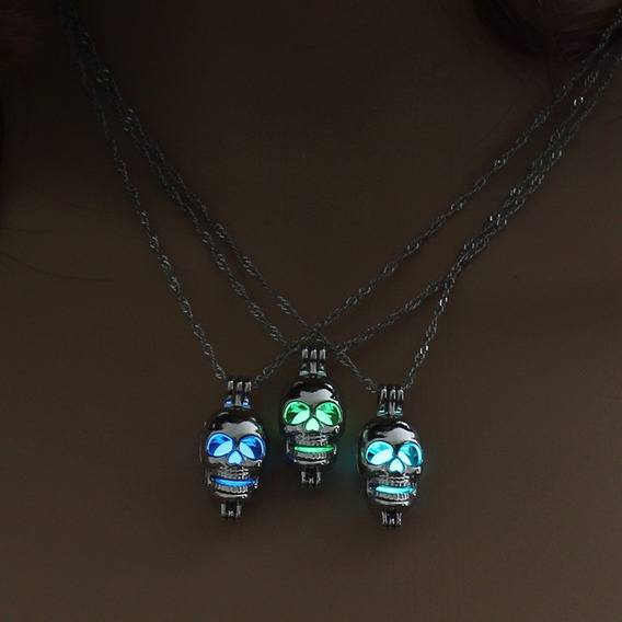 X10 Collar Calavera Skull Skeleton Brilla En La Oscuridad