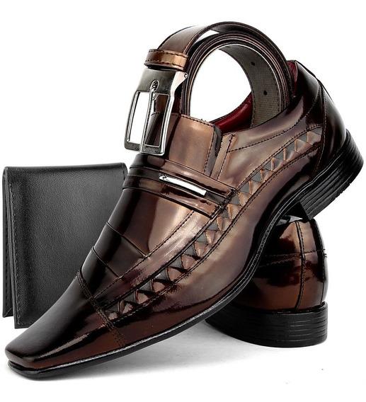 Sapato Social Venetto Braqueado Em Couro Kit Cinto+carteira