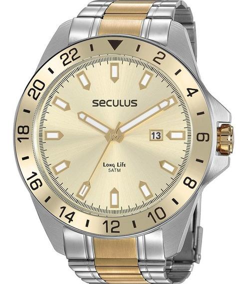 Relógio Masculino Seculus Bicolor Long Life 20801gpsvba1