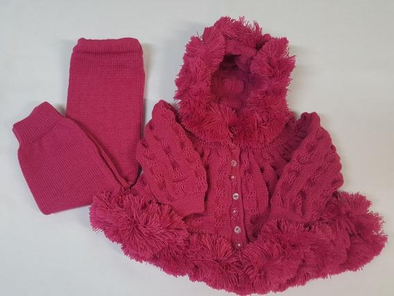 Conj. Eskimó ( Casaco + Calça) Tricot Bebê Rosa Pink