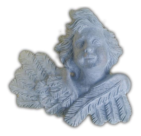 Anjo De Parede Esculpido Na Pedra Sabão Peça De Decoração