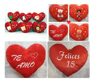 Almohadón Corazón De Peluche I Love You Feliz 15 Enamora