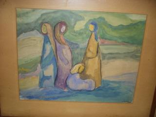 Cuadro.acuarela.rojl Minces.mujeres Árabes.israel.1962-..
