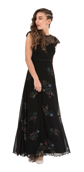 Vestido Fiesta Largo Negro Y Color Estampado Bordado Flores