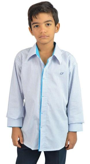 Camisa Social Infantil Quadriculada Branco - Aproveite Já