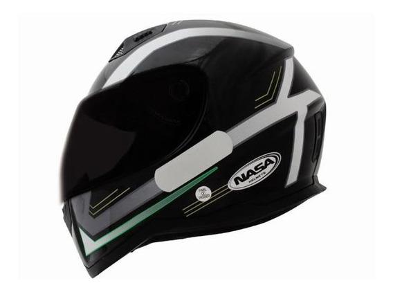 Capacete Nasa Sh-881 Elegance Preto / Branco / Verde