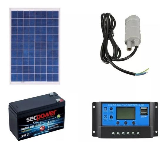 Kit Bomba 12v+painel Solar 22w+ Bateria+controlador