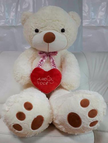 Ursinho Urso Gigante 1,20 Mt De Pelúcia + Coração Amo Você