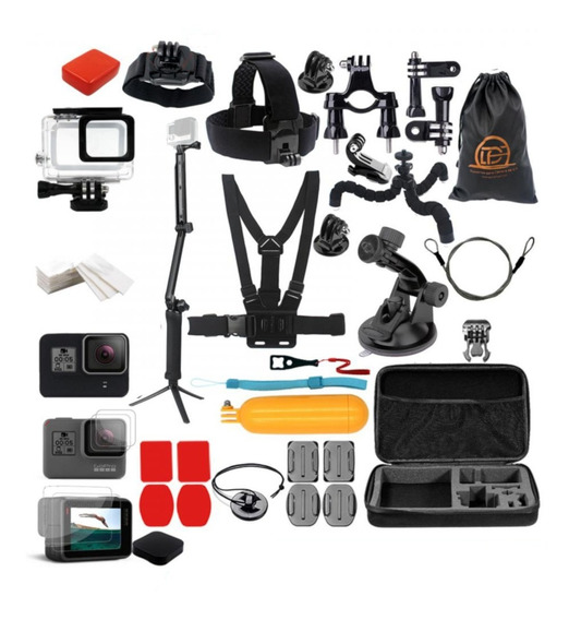 Kit Película 3 Way Boia Caixa Estanque Gopro Hero 5 7 Black