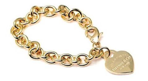 Pulseira Tiff Coração Ouro Com Embalagem Bracelete