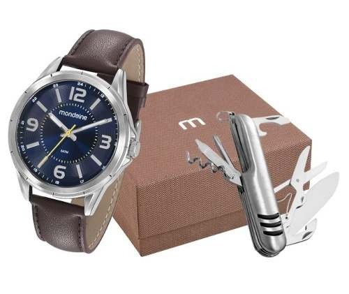 Kit Relógio Masculino  Mondaine Com Canivete Pulseira Em Couro 53700g0mgnh2k1 - Garantia E Nota Fiscal