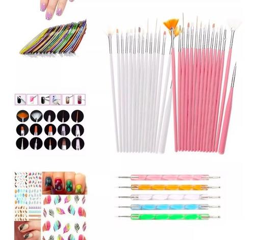 Kit 15 Pinceles Manicure 5 Punteros: 25 Usos + 5 Obsequios!