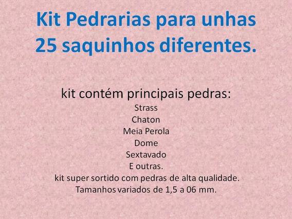 Kit Pedrarias Para Unhas 25 Saquinhos Diferentes