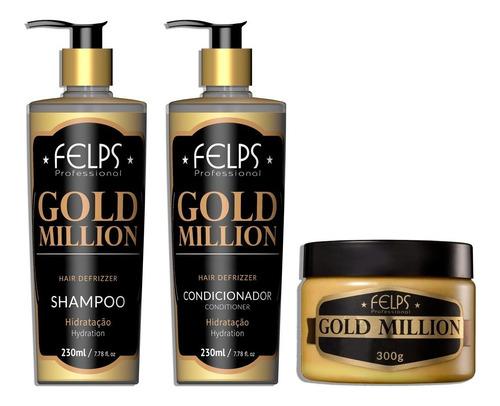 Felps Gold Million Kit Shampoo Cond E Mascara + Brinde
