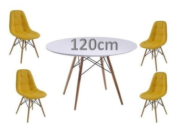 Mesa Redonda Eames Eiffel 120cm + 4 Cadeiras Eames Botonê Aj