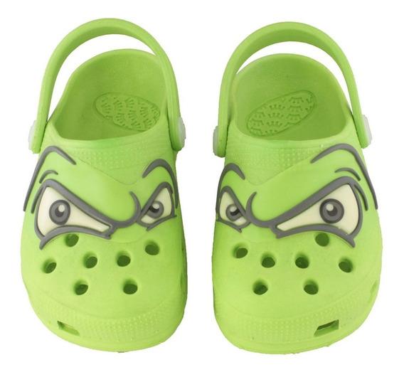 Babuche Kids Olhos Brilha No Escuro - Verde Limão
