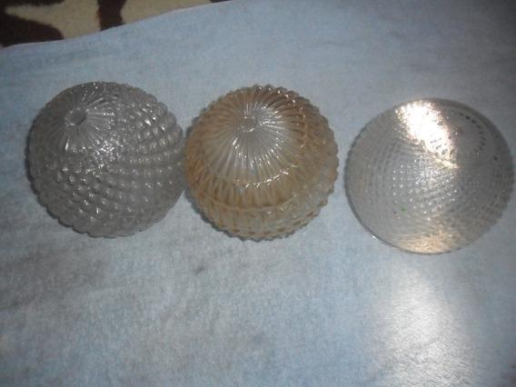 Lote Antiguidade De Cupulas De Vidro /luminarias Usadas