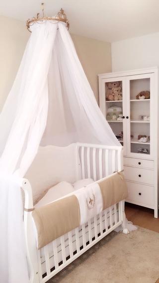 Dossel De Teto Coroa Dourado Com Mosquiteiro - Berço Bebê