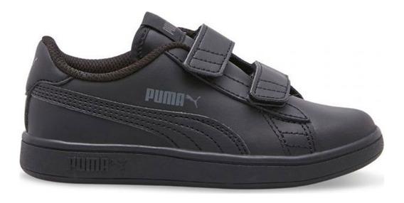 Tenis Puma Niño Smash V2 Leather Clásico Retro Negro