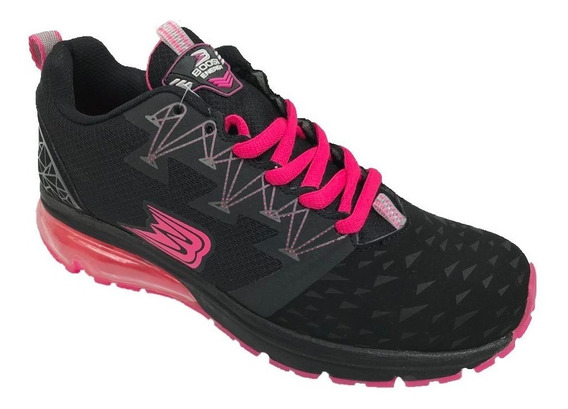 Tenis Mujer Boost Running Deportivo Textil Negro Fucsia