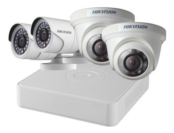 Kit Dvr 4 Camara De Seguridad 2 Bala 2 Domo 720p Hikvision
