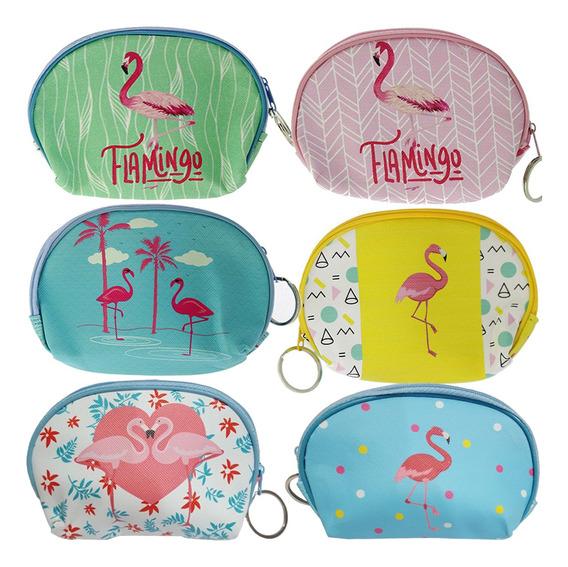 12 Porta Moeda Estampado Flamingo Notas Com Zíper