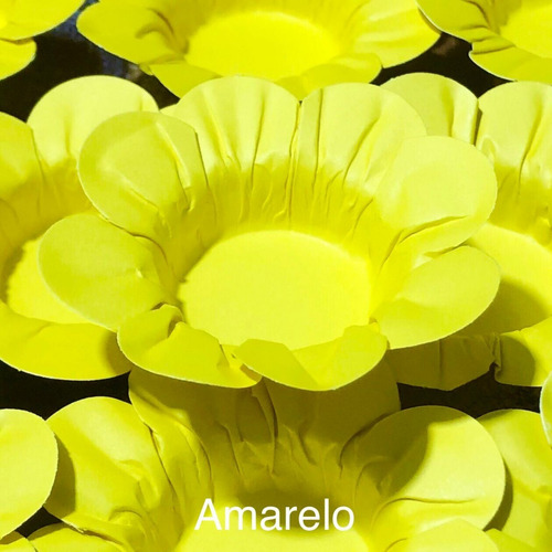Imagem 1 de 10 de 100 Forminhas Para Doces Casamento Mod Flor Amarelo