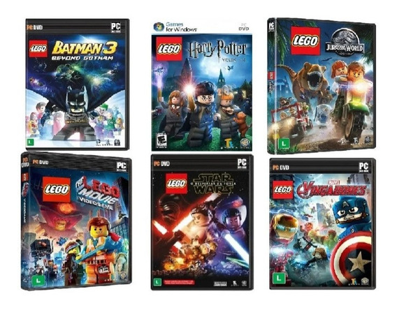 6 Jogos Lego Marvel Batman Jurassic Star Movie Harry Pc Game