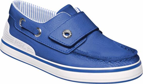 Sapatênis Infantil Em Couro Azul Marisol
