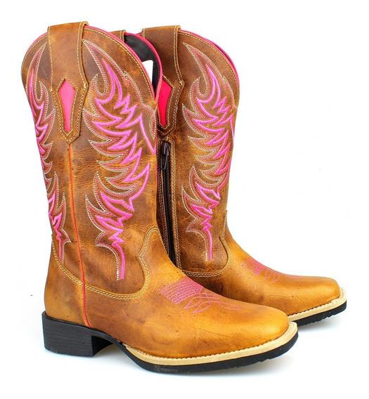 Bota Masculina Country Texana Peao Rodeiro Couro Resistente