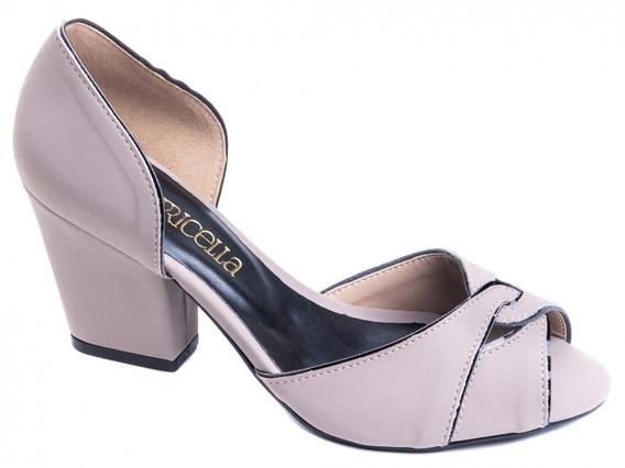 Sapato Peep Toe Nobuck Cinza E Verniz Preto, Salto 7cm