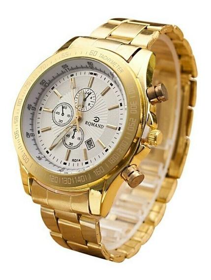 Relógio Dourado Grande Luxuoso Social Causal Barato Com Data