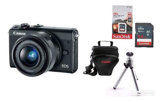 Câmera Canon Eos M100 C/ 15-45mm + Bolsa + 64gb + Tripé