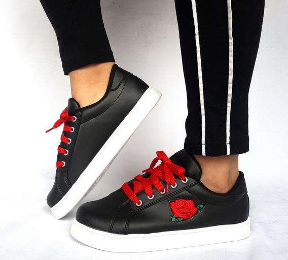 Mal018 Zapatillas Talles Grandes Negras Flor