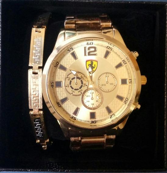 Relógio Pulso Quartz, + Pulseira Folheada De Brinde,barato