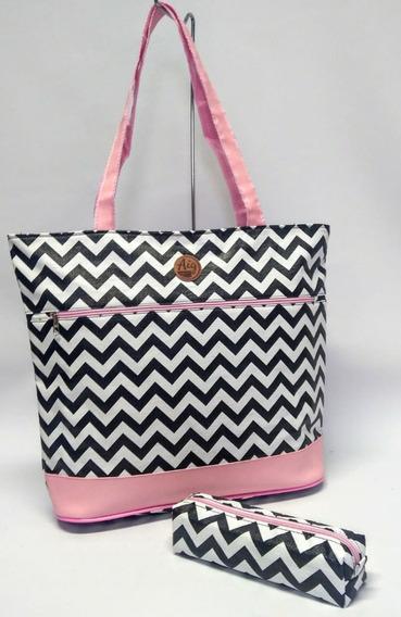 Kit Bolsa Grande Feminina Tote Bag + Estojo Box Zig Zag Ros