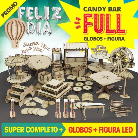Candy Bar Full + Figura Led + Globos Candybar Fibrofacil