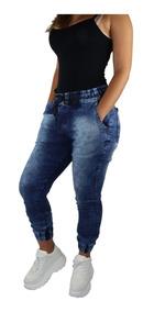 3 Calças Jeans Sarja Feminina Jogger Com Punho Elastico