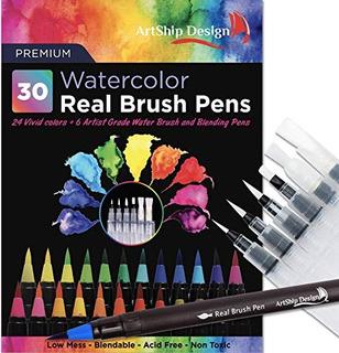 30 Acuarelas Plumas Pincel Real, 24 Colores 6 Cepillos Agua